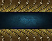 Gold braided texture with golden edges and blue nameplate — Stock Photo