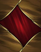 Red texture with gold edges and gold trim — Stock Photo