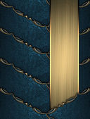 Blue ribbons with gold ornate edges with gold nameplate — Stock Photo
