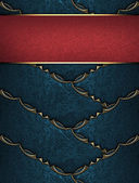 Blue ribbons with gold ornate edges with red nameplate — Stock Photo