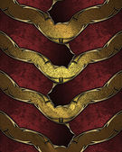 Red ribbons with gold ornate edges, on gold texture — Stock Photo