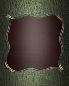 Green texture with brown name plate with gold trim — Stock Photo