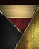 Design template - Red rich texture with black and gold corners — Stock Photo