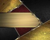 Texture oro con bordi d'oro e neri e oro con targhetta oro — Foto Stock