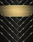 Template for design. Black ribbons with gold nameplate — Stock Photo