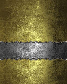 Template for design. Grunge gold texture with iron nameplate — Stock Photo