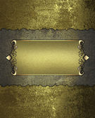 Grunge rift Gold Texture and gold nameplate with gold trim — Stock Photo