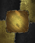 Background with black and gold accents and a sign from gold — Stock Photo