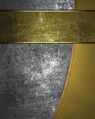 Iron background, and gold texture separated by a gold stripe — Stock Photo