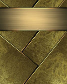 Wall gold (yellow) background with abstract gold inserts and gold nameplate — Stock Photo
