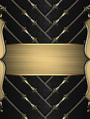 Black ribbons with gold trim and gold nameplate — Stock fotografie