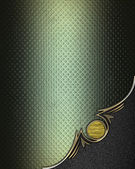 Grunge green texture with black angle and gold trim — Stock Photo