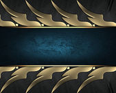 Black braided texture with golden edges with blue nameplate — Stock Photo