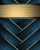 Blue braided texture with golden edges withgold nameplate — Stock Photo