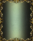 Abstract green background with gold pattern on the edges — Stock Photo