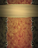 Abstract red-gold texture with gold ornament edge — Stock Photo