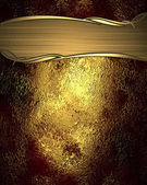 Beautiful golden-red background, with gold plate with gold trim — Stock Photo