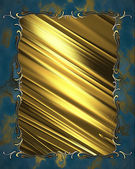 Beautiful gold nameplate with gold trim on blue background — Stock Photo
