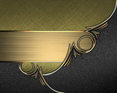 Gold texture with black angles and gold trim and gold nameplate — Stock Photo