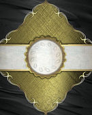 Golden rich texture, with black corners and gold trim and old white ribbon with a circle in the middle — Stock Photo