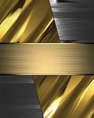 Abstract gold background with iron edges and gold plate. — Stok fotoğraf