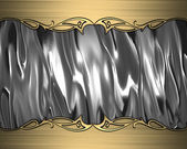 Abstract silver background with gold edges and gold trim — 图库照片
