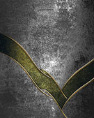 Iron grunge background with green neckline and gold trim — Stock Photo