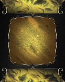 Black background with gold edges and plate with gold trim — Stock Photo