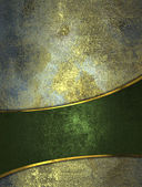Old rusty background with green ribbons and gold trim. — Stock Photo