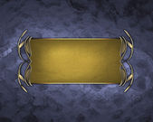 Abstract blue texture with gold plate with gold trim. — Stock Photo