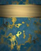 Modré pozadí abstraktní s zlata. zlatý štítek — Stock fotografie