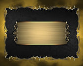 Black texture with golden frame with pattern and golden plate — Stockfoto