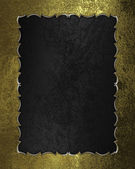 Black texture with golden frame with pattern — Stock Photo