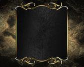 Vintage guld bakgrund med svart namnskylt och guld trim — Stockfoto