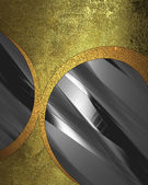 Old golden grunge texture with metal circle inserts — Stock Photo
