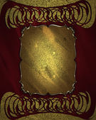 Red background with golden ornaments and a plate in the middle — Stock Photo