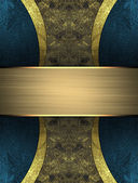 Abstract darkly gold background with blue edges and gold plate — Stock Photo