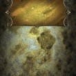 Постер, плакат: Old grunge texture with gold nameplate with gold trim