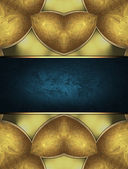Abstract yellow background with gold inserts and blue plate — Стоковое фото