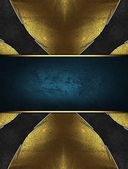 Black background in the form of a cross with yellow edged with gold trim — Stock Photo
