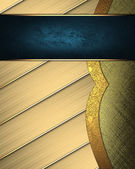 Abstract golden texture stripes with separate gold plate, and blue plate — Stock Photo