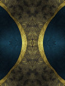 Abstract dark background with blue edged with gold trim — Stock Photo