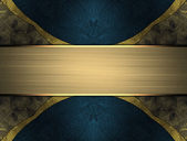 Abstract dark background with blue edged with gold trim and gold plate — Stock Photo