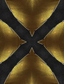 Black background in the form of a cross with yellow edged with gold trim — Photo