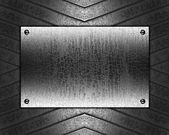 Abstract iron background with grunge plate — Photo