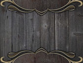Background of wood with beautiful decorative edges of gold — Stockfoto