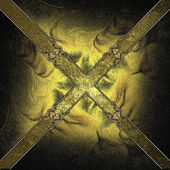 Gold background in the form of a cross with yellow edged with gold trim — Photo