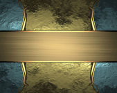 Golden background with blue edged with gold trim — Stock Photo
