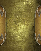 Grunge gold background with gold edged and gold trim — Stock Photo