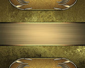Grunge gold background with gold edged and gold plate — Stock Photo